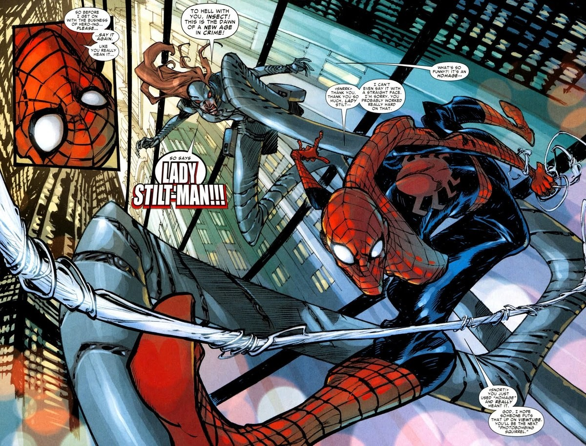 The Deadly Lady Stiltman. .. Can someone please tell me what the is going on with Spider-Man's body here?