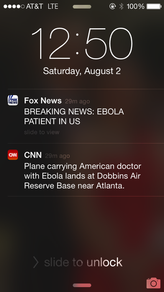 The Difference Between CNN and Fox.. . Saturday, August 2 Fox News BREAKING NEWS: EBOLA PATIENT IN US CNN Plane carrying American doctor with Ebola lands at Dob