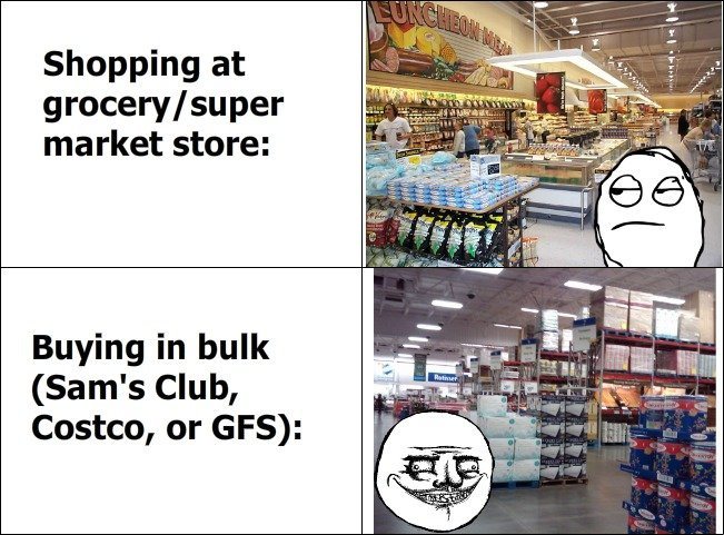 The Difference. I LOVE buying in bulk! So. Much. Food.. Shopping at grocery/ super market store: Buying in bulk Sam' s Club, Costco, or GFS):. Its SOOO true