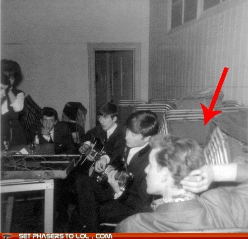 The Doctor with the Beatles. This isn't a photoshopped picture. This is actually a guy who looks like Matt Smith hanging out with the Beatles. AND Steven Moffat