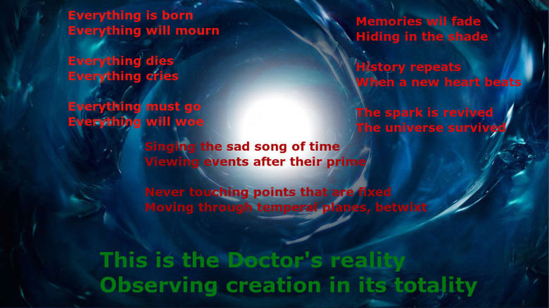 The Doctor's Reality. I was on the feels section and this just sorta came to me... This is my first post, so by all means, go ballistic on me in the comments. I