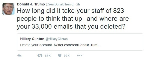 The Don can't find a to give. . How long did it take your staff of 823 people to think that upland where are your 33, 000 emails that we deleted? Hillary Clinto