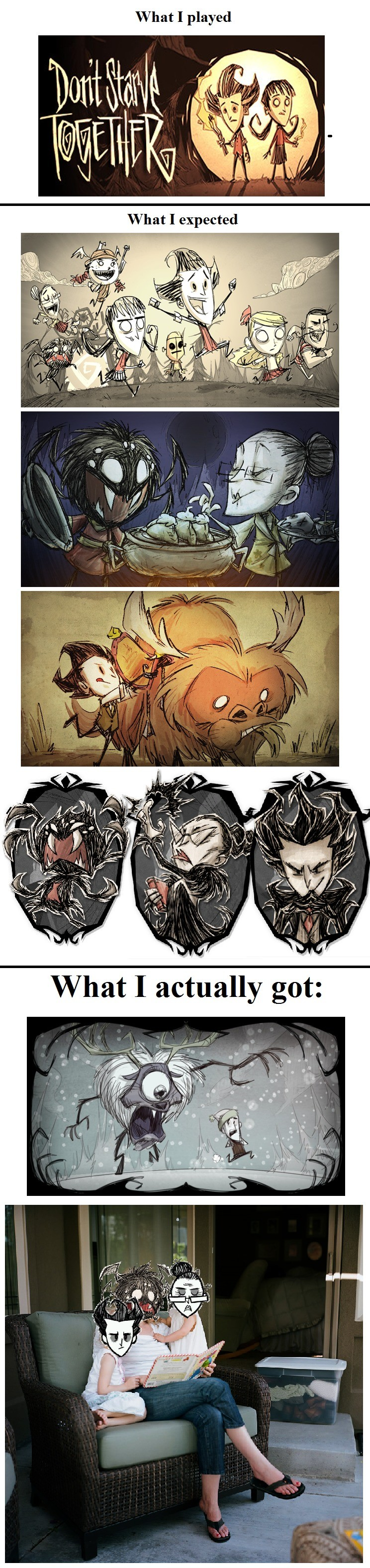 The Don't Starve Together Experience. If I've already posted this someone please tell me. It was a little over a year ago I played with a friend and his friend.