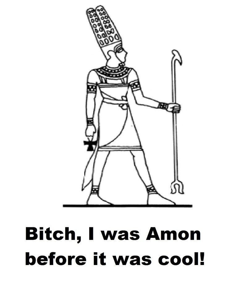 The egyptian god of sun. Under pharaons Akhenaton and Nefertiti, Amon replaced Ra, Isis and all other gods of Egypt pantheon and became the only god.... This im