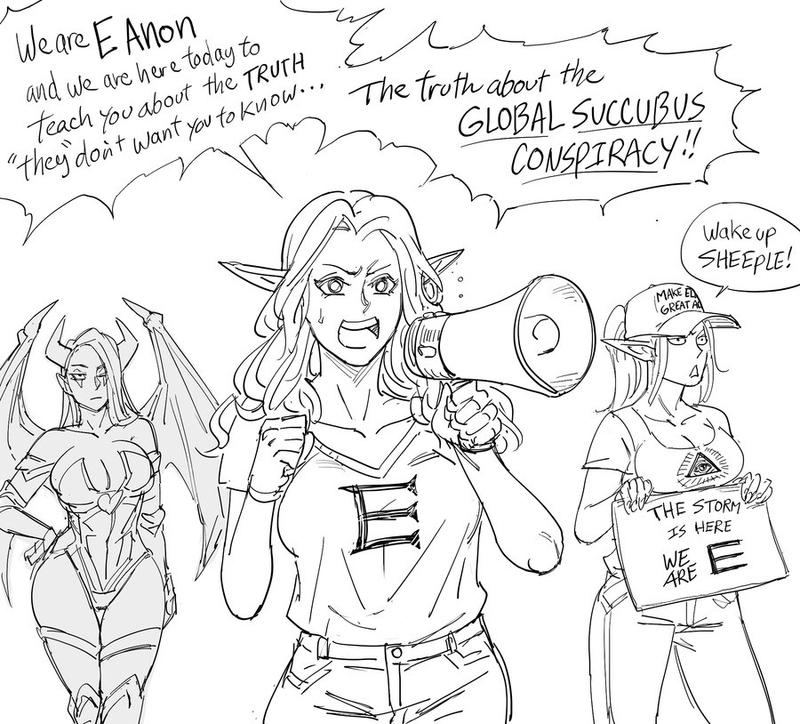 The global succubus conspiracy. .. Is the elf in your party getting uppity again? Let her know her place by aggressively T-posing to assert your dominance!
