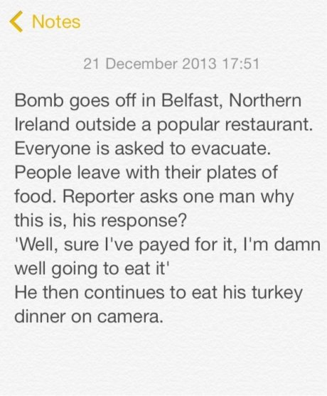The Irish know how to deal with this s. . 4(: Mates 21 December 2013 17: 51 Bomb goes off in Belfast, Northern Ireland outside a popular restaurant. Everyone is