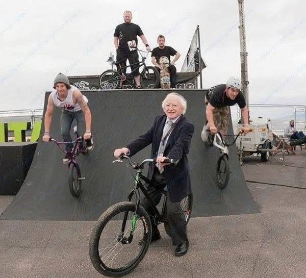 The Irish president trying to be gangsta. There are just no words.