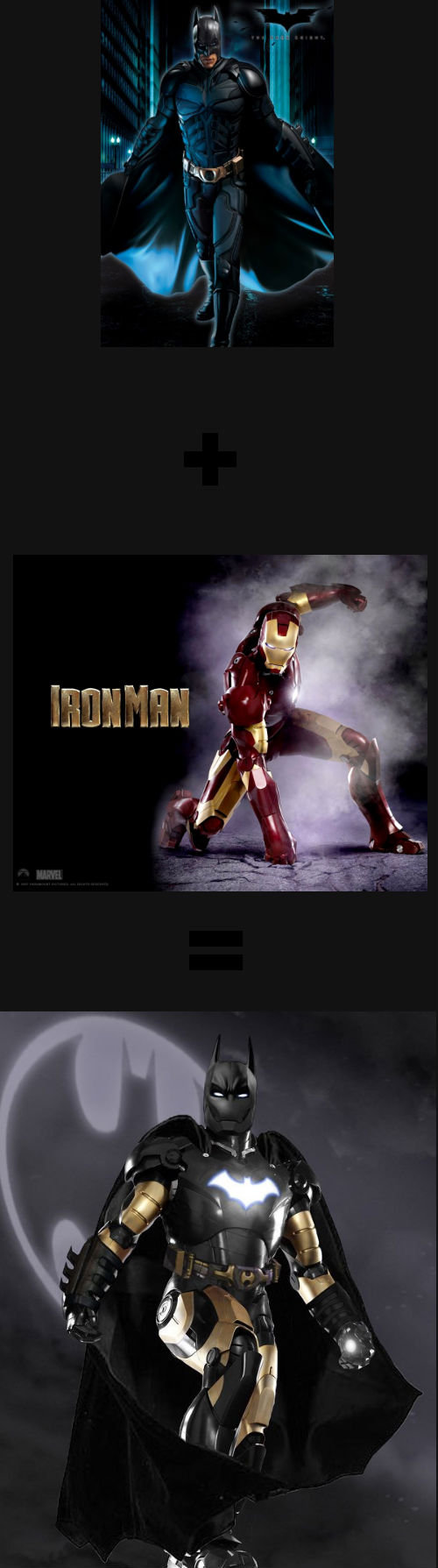 The Iron Bat. Half Batman half Ironman all billionaire... i tried to mix their names but all i got where batman and ironman but we could also go with manman / iron bat