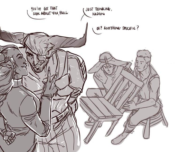The Iron Bull.. . Tau are an PM I Luna Just . noun. Cole is too pure for that world, also Cassandra read smutty books near him too.