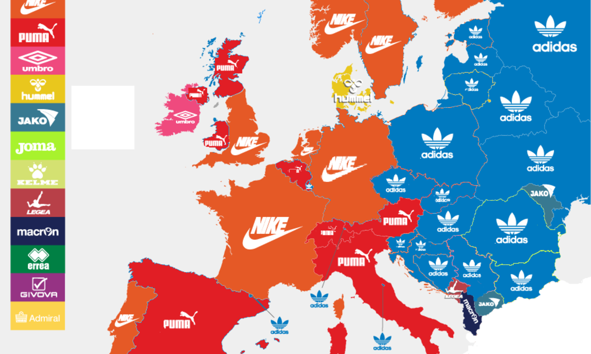The iron curtain sure has changed. . LEA BNIEEI. It's really strange considering both adidas and puma are german brands.