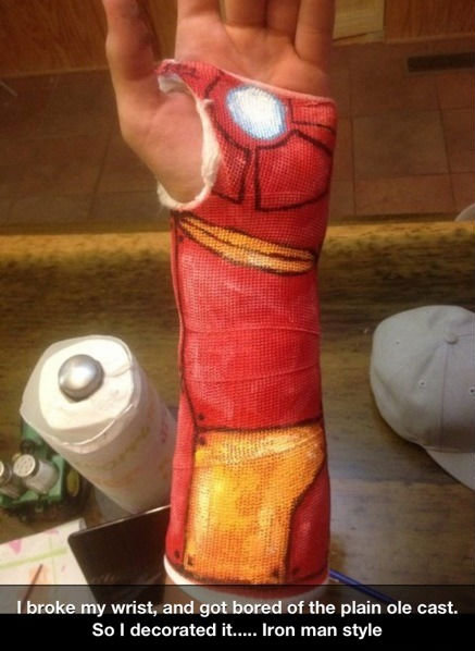 The Iron Man. Not OC. I broke my wrist, and got bored of the plain ole cast, So I decorated it..... Irean man style. Why are we not funding this? Cast decals could be a massive business.