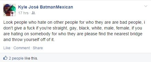 "The Irony is Strong with this One. Nothing says take me seriously like green hair and a surname like José BatmanMexican. ""people who hate on other people.."