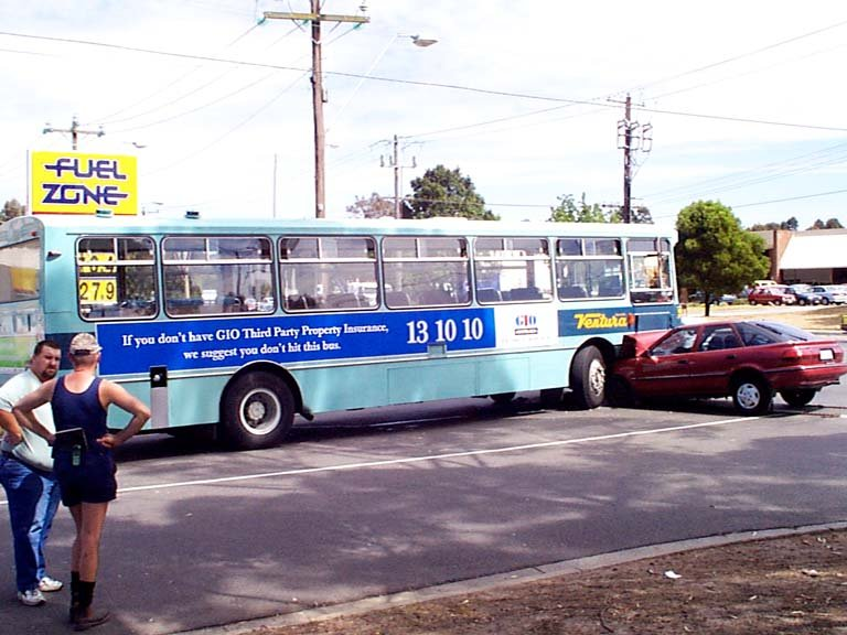 """The Irony of Advertising. If you still don't get it, read the ad: """"If you don't have GIO Third Party Property Insurance, we suggest you don't hit this bus."""