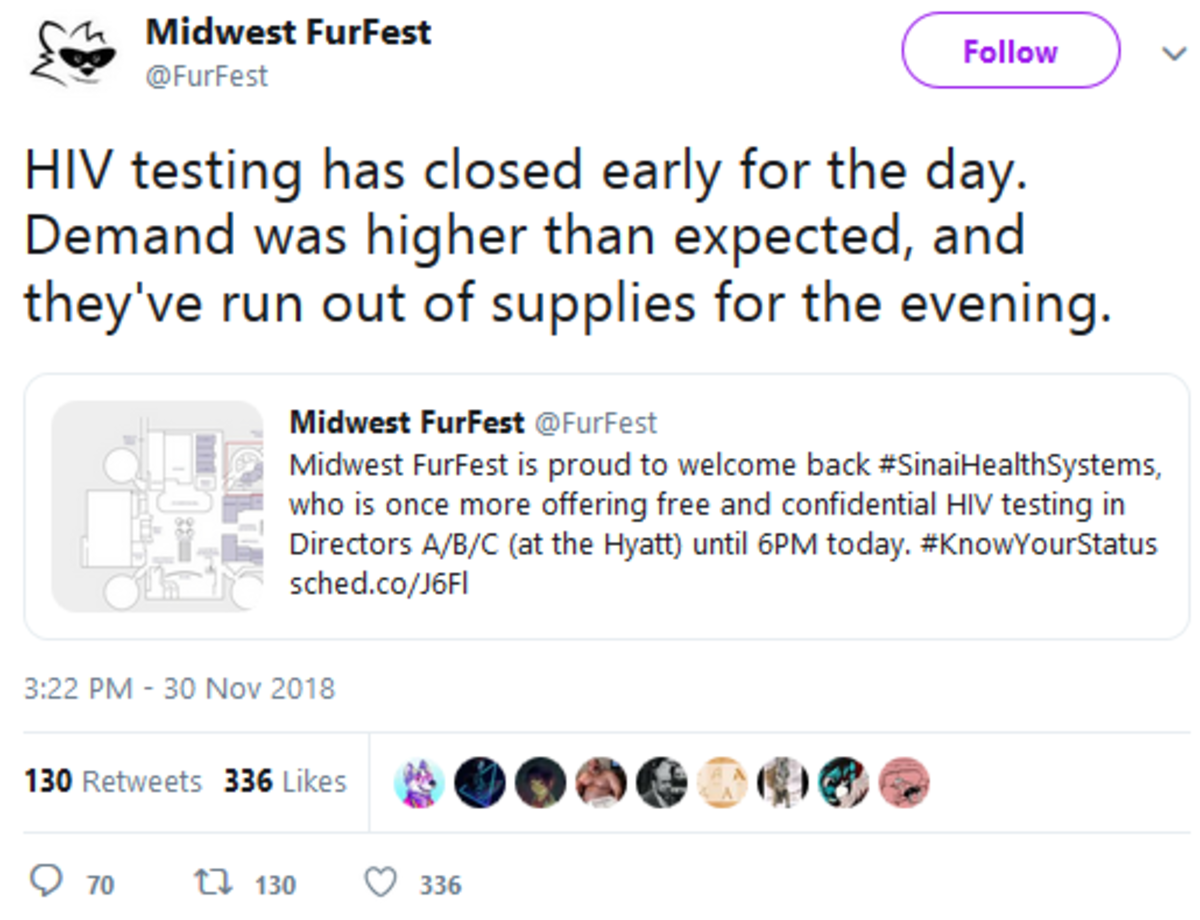 """The jokes write themselves. .. >large amount of people going to furry convention wanna >wanna get tested first so they don't go spreading hiv >""""disgusting degenerates"""""""