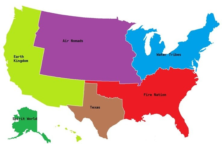 The last Airbender. Wish I was a Texas bender... How is California not the Fire Nation?