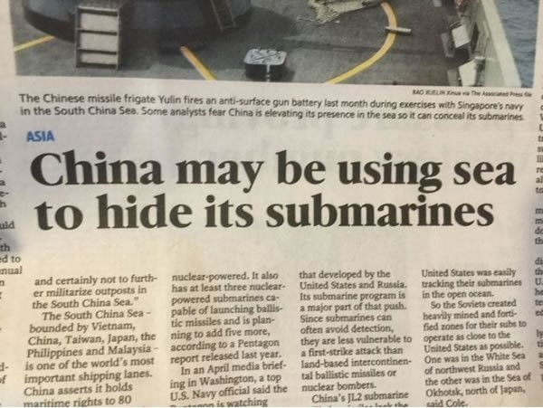 The latest in nalval stealth tatics. . F in E g China may be using sea ii ii to hide its submarines 5. Chinas fw