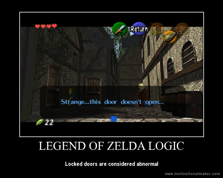 The Legend of Zelda Logic. lol. LEGEND OF ZELDA LOGIC, Locked doors are considered abnormal. Well, in the ideal society that Hyrule is, a locked door would be abnormal because with no wars, or crime, everybody is prosperous. Even though they are nowhere