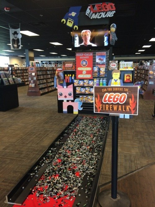 The Lego Firewalk. .. Someone hold my shoes. I'm going in.