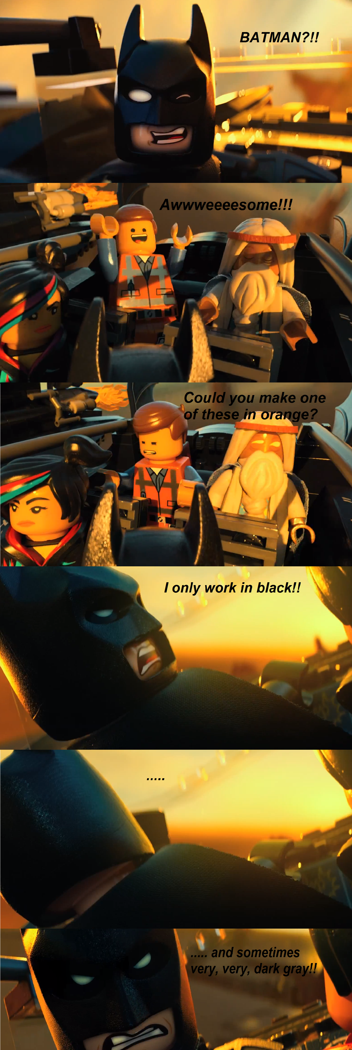 The Lego Movie. Can't wait for this movie. Go watch the trailer!.. Considering Lego works with DC and Marvel we might, just might, be able to see some very badass crossover. Even if in Lego form most of us can agree this would