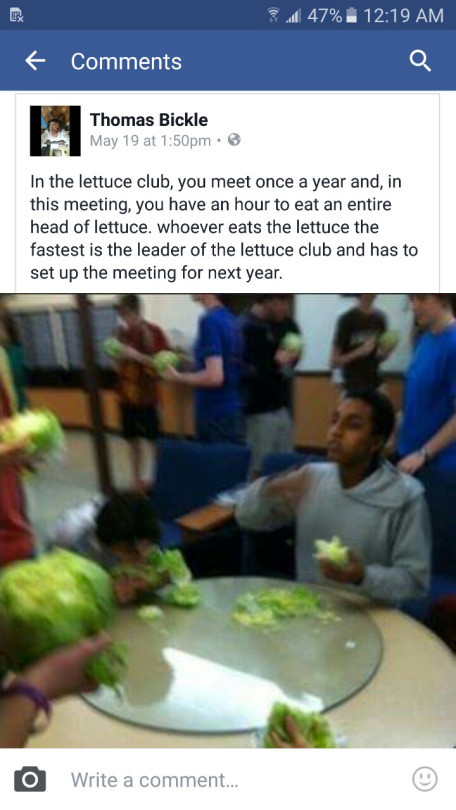 The Lettuce Club. . 6 Comments Cl. Themes Emile In the lettuce club, meet cace 'it' year and, in this meeting, gm have an heuvtc eat an entire cf lettuce. weave
