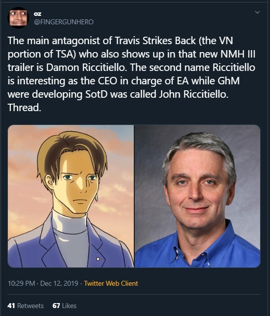 The level of spite here.. Source: The thread goes on to explain further the history between Suda and what happened with Shadows of the Damned. An interesting re