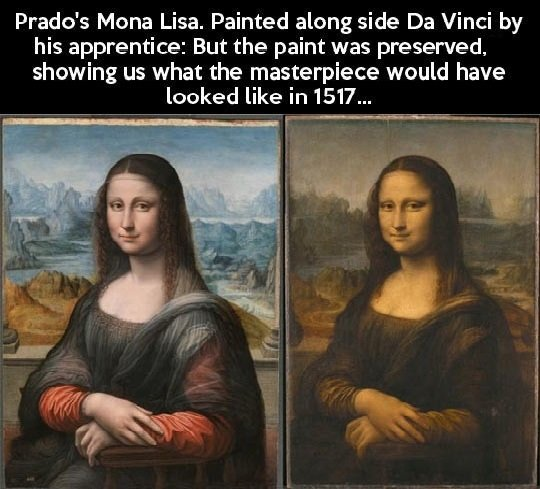 The Mona Lisa. Kind of interesting. I think Da Vinci's apprentice was just as good, his even looks more like a woman, but Da Vinci's has more depth.. Wade' s Mo