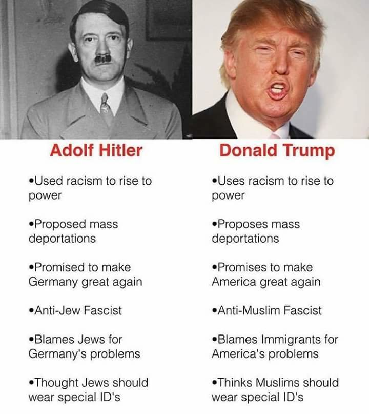 The new Führer. . Adolf Hitler Donald Trump Used racism to rise to -Uses racism to rise to power prewar Proposed mass -Proposes mass deportations deportations t