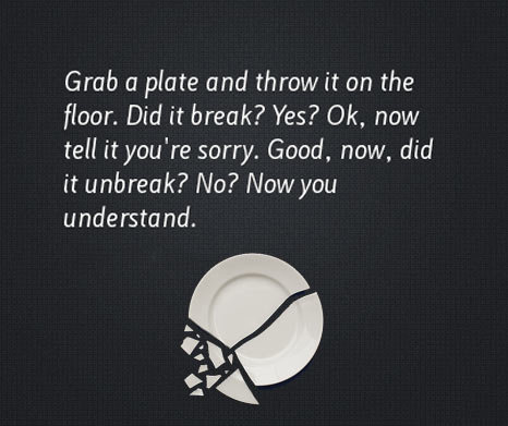 The Power Of Apologizing. Say you're sorry, I'm sure you mean it. Grub at plate and throw it can the Hear. Did it break? Yes? , now tell it yeu' re sorry. Good.
