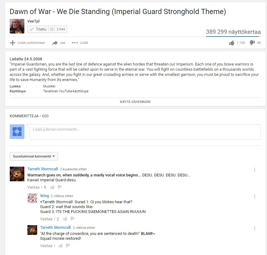 The real lyrics of the imperial guard. join list: VidyaGames (381 subs)Mention History join list:. okay you didn't need to repeat the comment 3 damn times