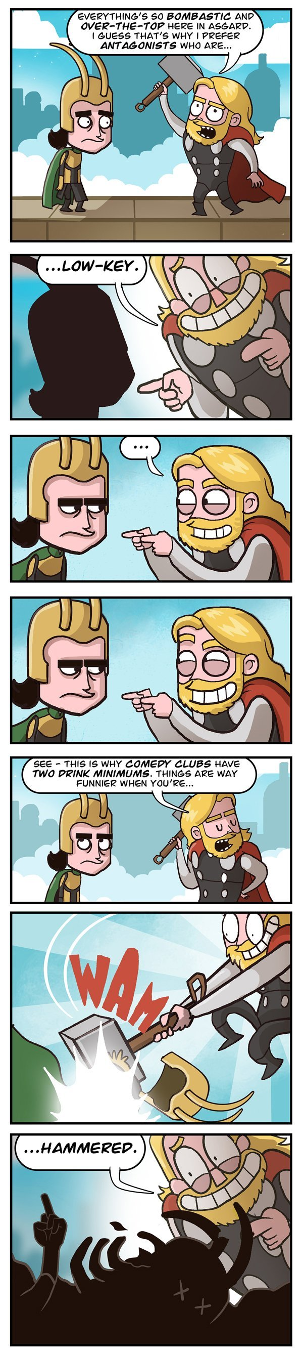 The Thor comedy club. It's simply smashing.. rau ANTAGONISTS WHIT ARE... TWO tani? tme MINIMUMS. THINGS WAY