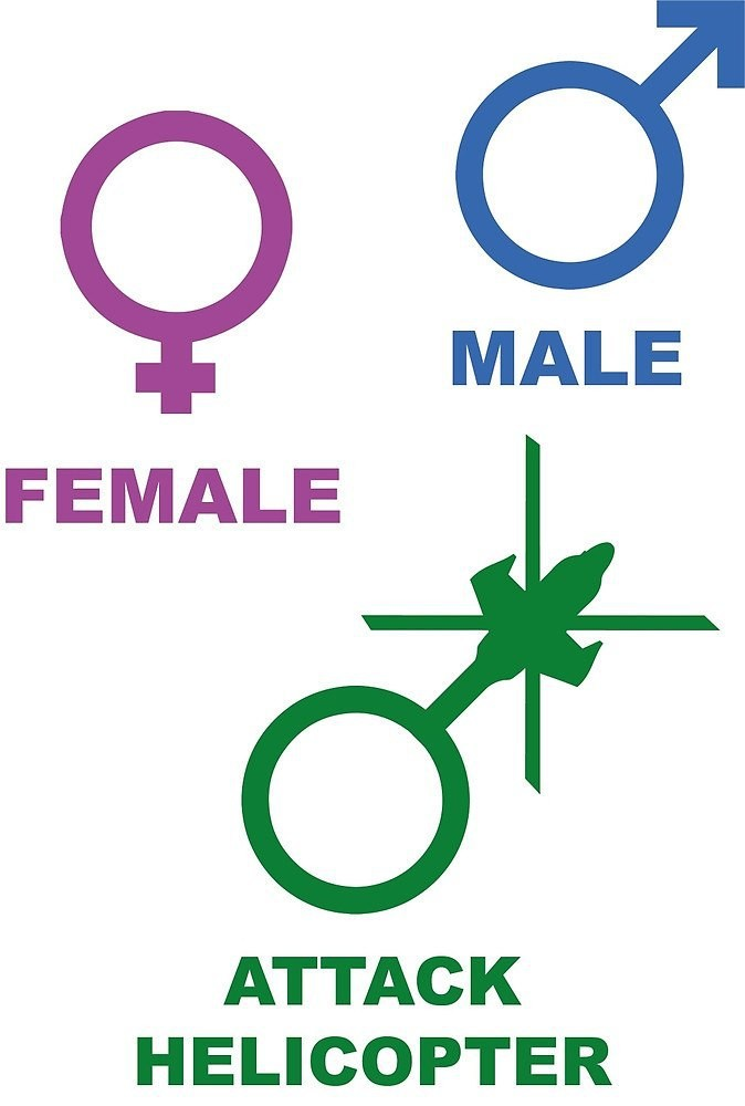 The three Genders. .. Not all helicopters are for killing Rights for troop carriers!