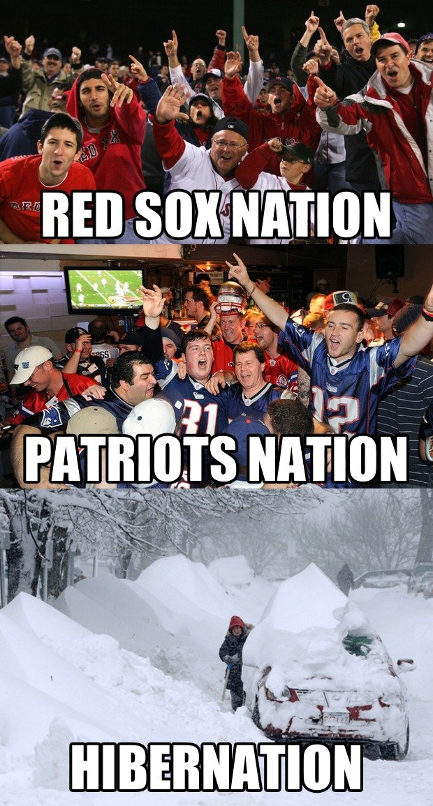 The Three Nations of Boston. .. 3 seasons for new england, red socks spring training, hot as balls summer , and pre winter and blizzard