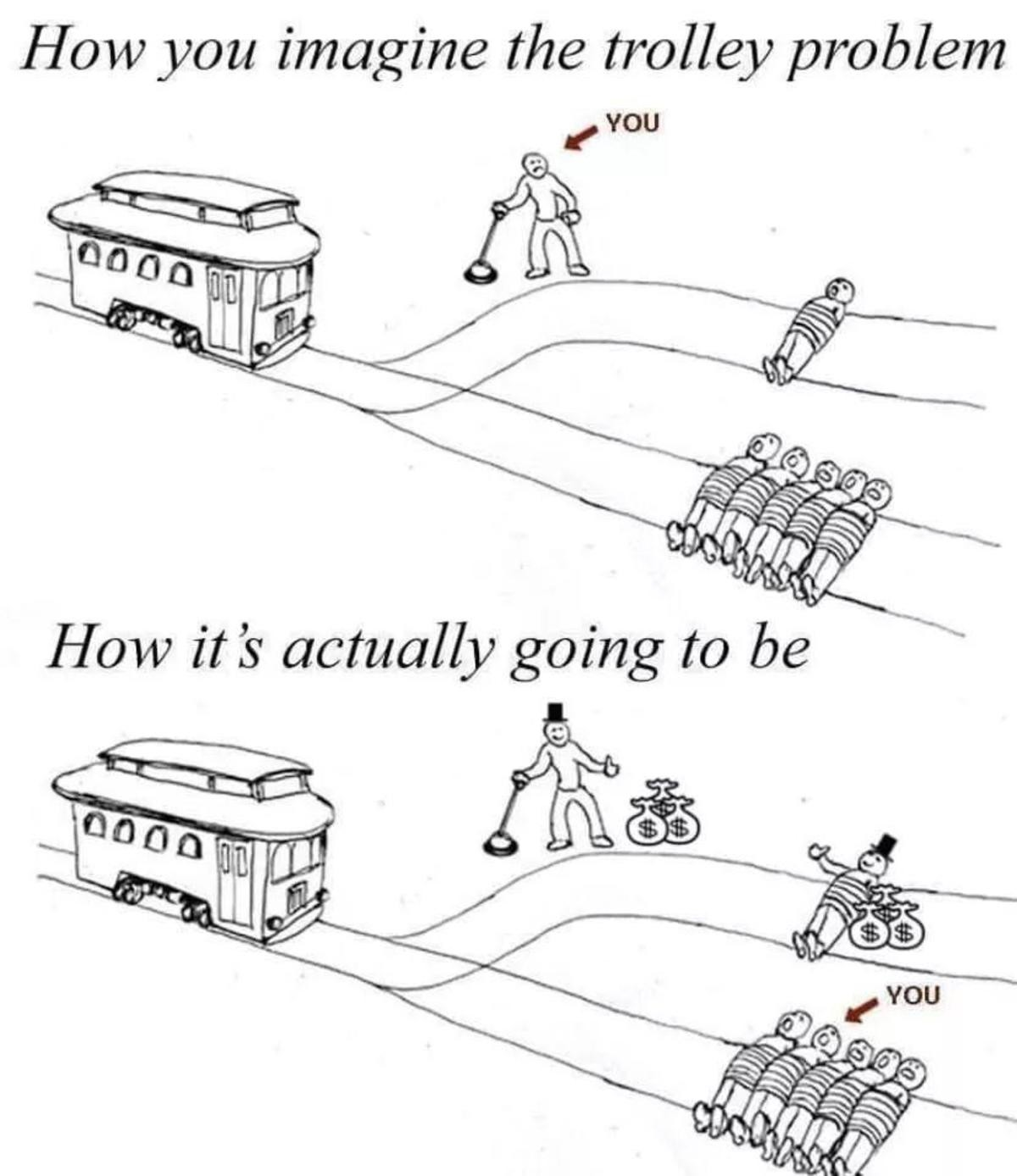 The trolley problem reimagined. .. the actual problem of the trolley problem, is that there is no context once you give it context, it is no longer the trolley problem