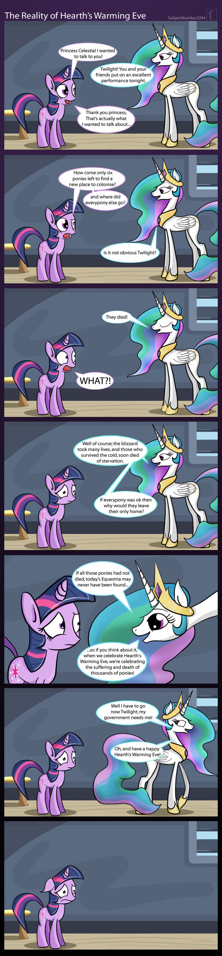 The true meaning of Hearth's Warming Eve. www.equestriadaily.com. The Reality of Heath' s Warming Eve , Princess Celestial I wanted to talk to you! Twilight! Yo