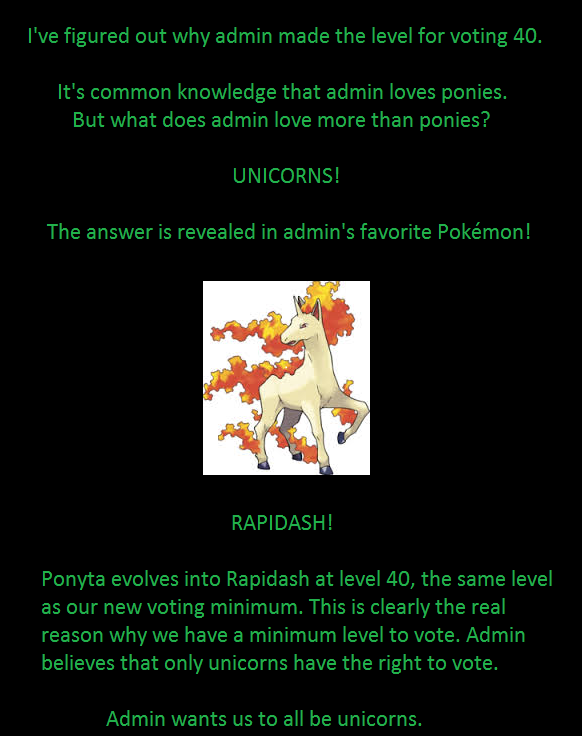 The Truth. There is no other explanation. This is the truth. Actual OC as well... good thing his favorite pokemon isn't one that evolves from an evolutionary stone or else he'd force us to play that stupid item game again.