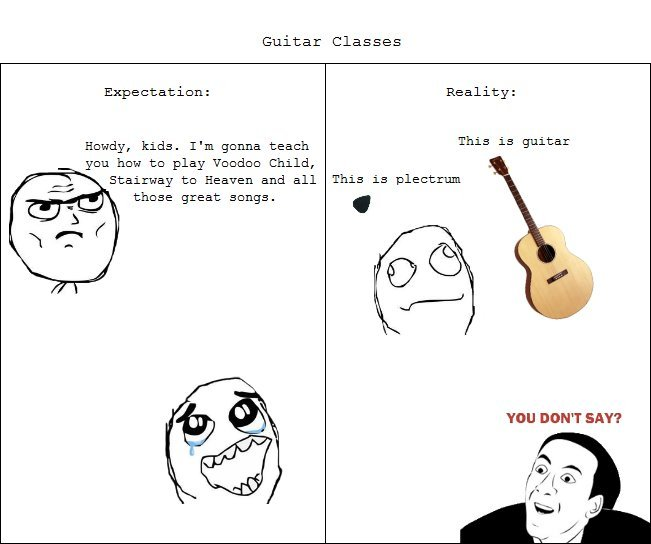 the truth. . Guitar Classes Expectation: Reality: Heady, kids. I' m ganna teach This is guitar gnu haw tn play Deedee Child,. those songs are really overrated and bad, try listening to some real rock, metal