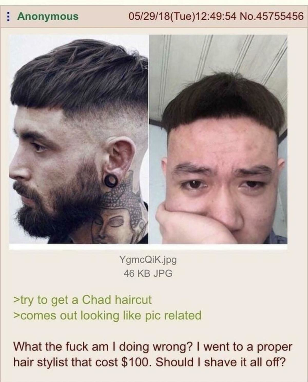 The virgin haircut vs the chad naturale. .. Looks like on the left too