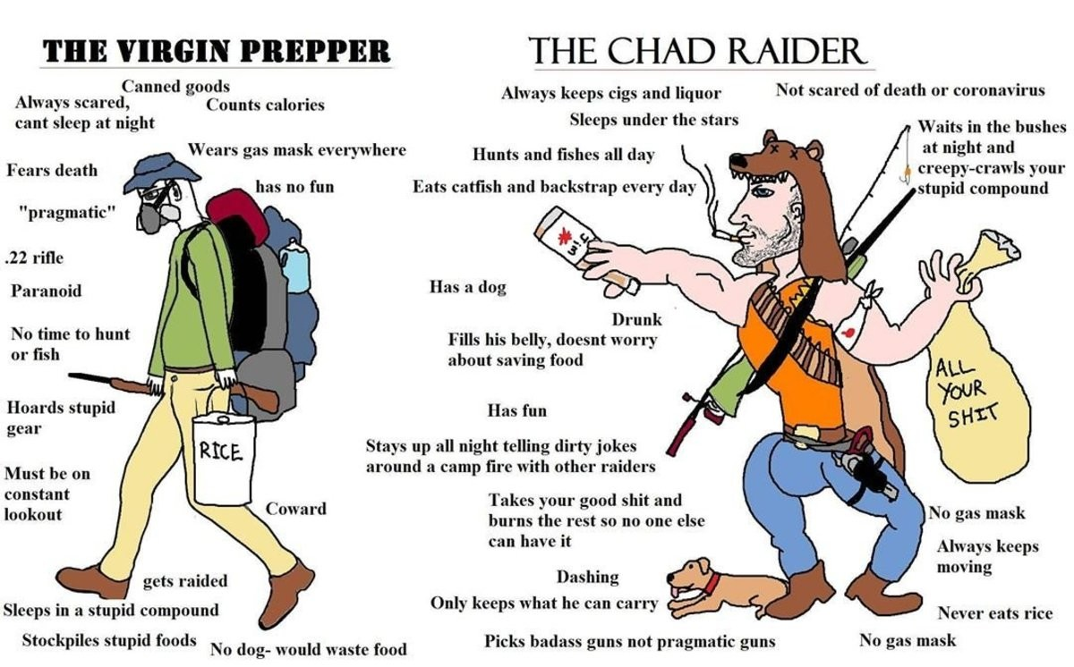 The Virgin Prepper vs the Chad Raider. .. Hard to be a chad with your legs broken.