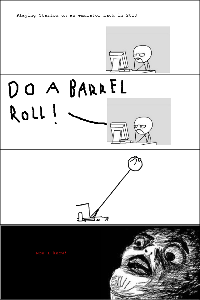 """The day i learned. True story about how I learned the origin of """"Do a barrel roll"""". Playing Starfox on an emulator hack in EDIE"""