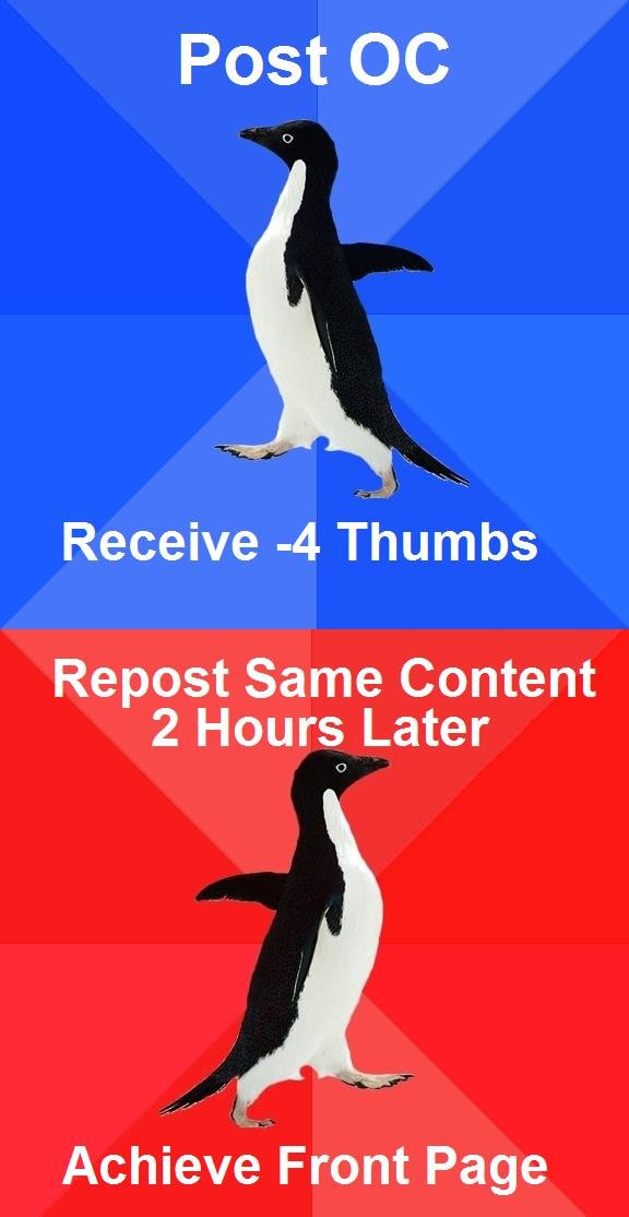 The Penguins. atleast its OC. Post Receive -4 Thumbs Repost Same Content 2 Hours Later Achieve Front Page. If this is OC, it have positive thumbs, therefore this is entirely redundant.
