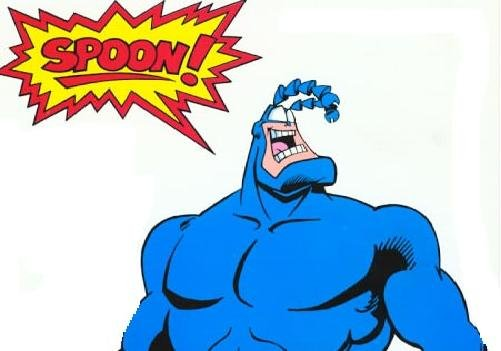 The Tick. Remember this show? .. aw come on i cant believe someone thumbs down this :/