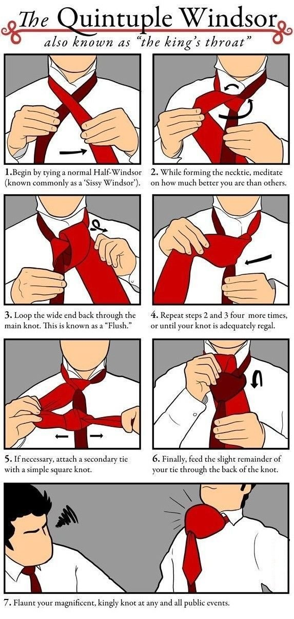 The King's Throat. . Laggin by tying a normal 2. While forming the necktie, meditate known as a 'Sissy Windsor'). on have much better you are than others. 3. Lo