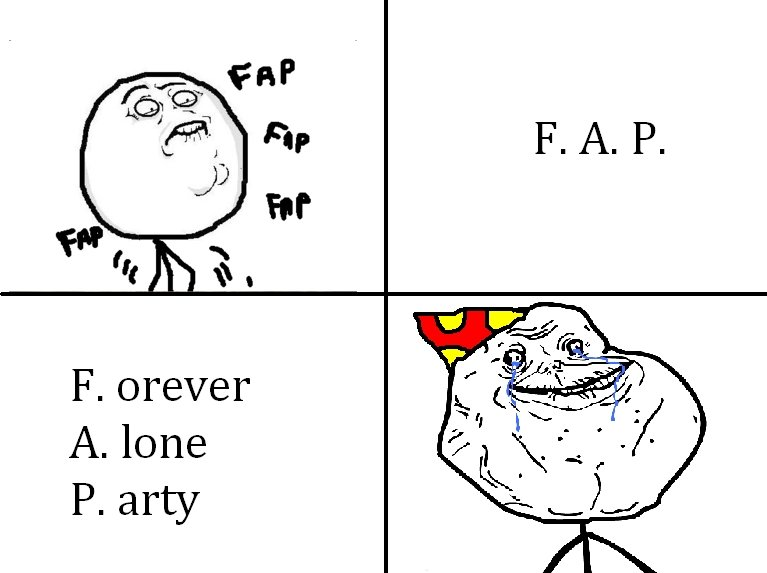 The true meaning of FAP. My friend put this meaning together without knowing what FAP meant, just forever alone LOL OC, FIRST COMIC BITCHES. F. Trever Jar. lone