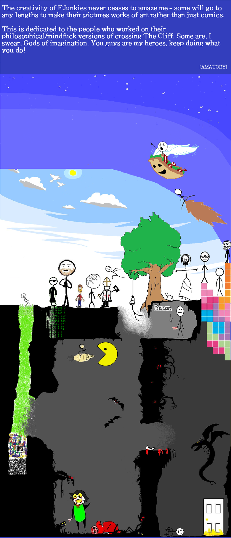 The Lengend of the Cliff Quest. I don't remember most of the usernames of the creators, but most can be recognized by their art. Thumbs up if you like what I di