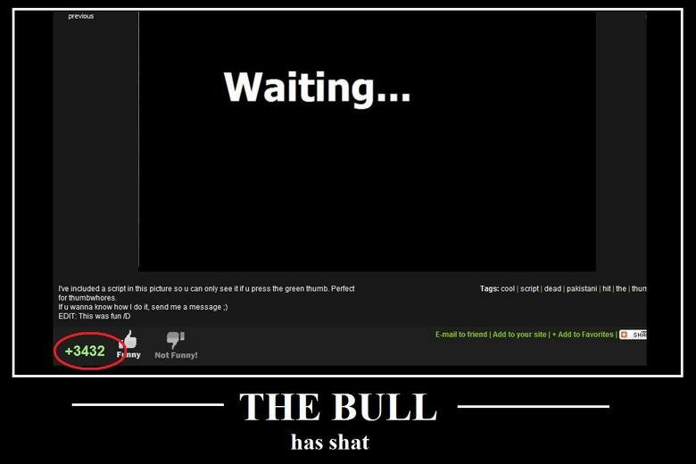 The Bull. C'mon FJ - we can do better.... previous We included a script in this picture sci LI can cm see it if press the green thums. Perfect Tags: cool . scri