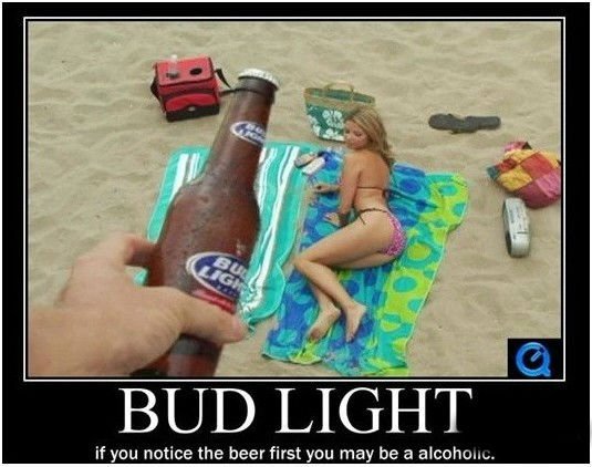 The Bud Light Test!. hi my name is marshall. if you notice the beer first you neay be an F,'. an
