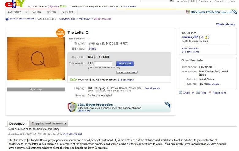 The letter Q. ebay fail. IMP . 'Mu, My eBay I Sell I Community I Contact US I Hair: Hi, [Sign out) You have ?'. in eBay Bucks - earn more with a bonus offer! CA