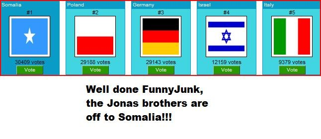 The Jonas pirates. WE DID IT! First Justin Bieber and now these fags! Woooot go FJ!. Well done Funny.! unk, the Jonas brothers are off to Somalia!!!. Seriously?? I posted the first pic to send them to NK and now they're off to Somalia... awwwwwwww