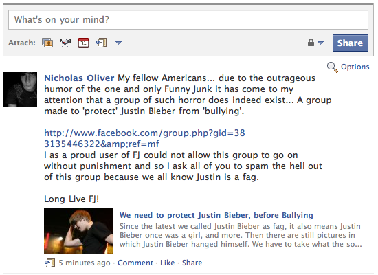 The assault on Bieber Continues. I could not help myself after learning of the Bieber protection group on Facebook so I had to spread the word to my friends the