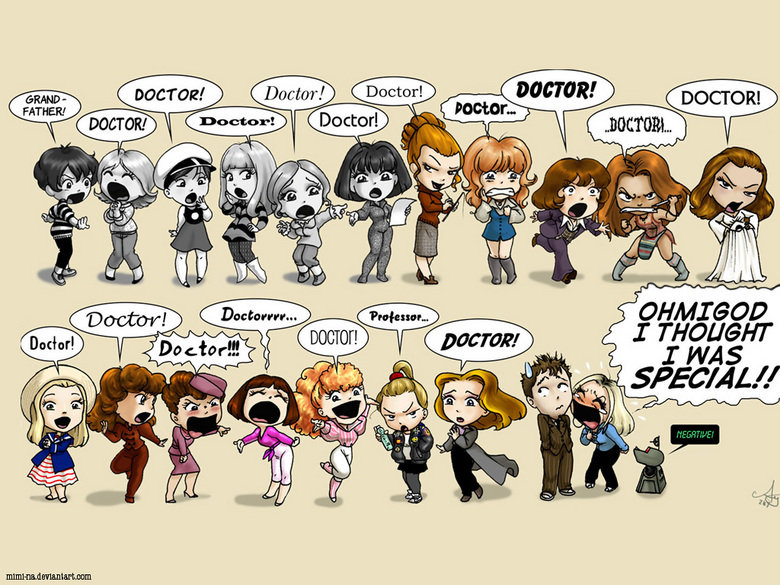 """The Doctor's Girls. Doctor Who.. at first i didnt get it but then i remembered that dr who was a straight up pimp and had a ton of """"assistants"""""""